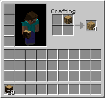 Image result for minecraft making wood planks on the inventory